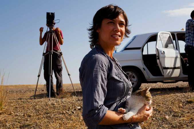 Director Kimberley Joseph filming in Kazakhstan.