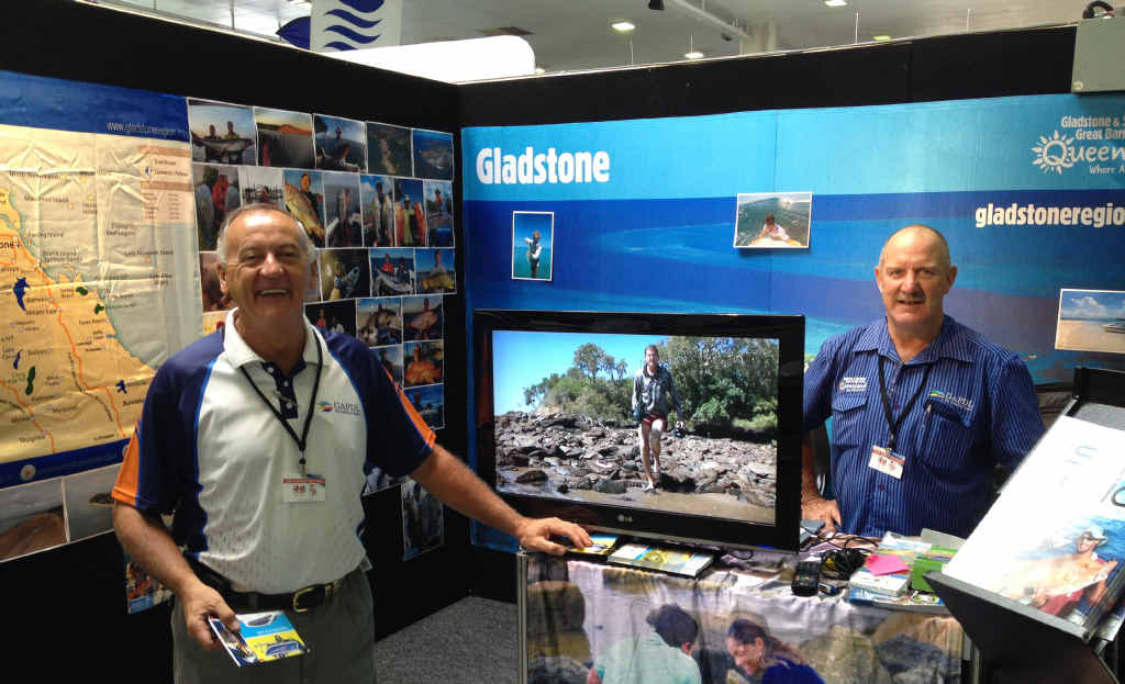 Glenn Churchill and Greg Realf, from GAPDL, ready for action at the Brisbane Tinny, Tackle and 4x4 Show.