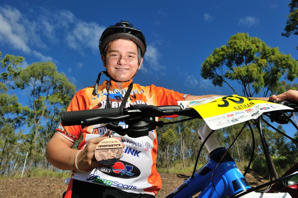Nathan Taylor, 14, finished third in his first adventurethon in Townsville and is ready for more.