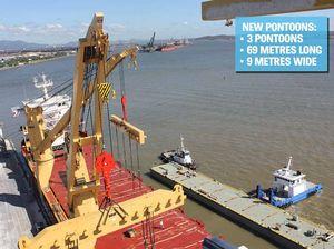Pontoons arrive as new tug base work reaches milestone