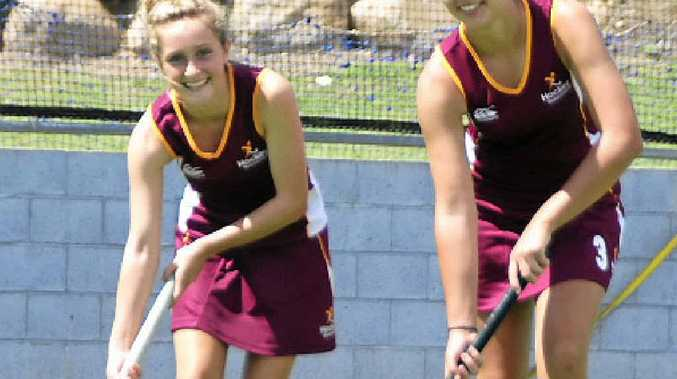 Rhiannon Baxter, 14, and Morgan Mathison, 13, are in the Queensland U15 team for the national championships.