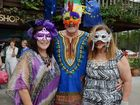 IN THE MOOD: Carolyn Yates, Richard Hodgson and Lynne Bolton of Ocean Shores at the 2014 Carnevale Italiano in New Italy.
