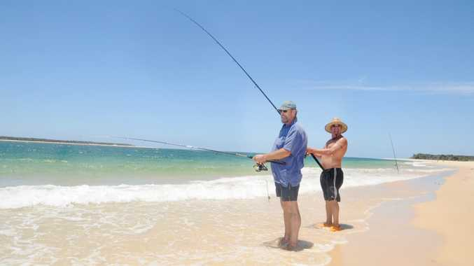 Harry Cooper and Malcom Moore fishing at Inskip point