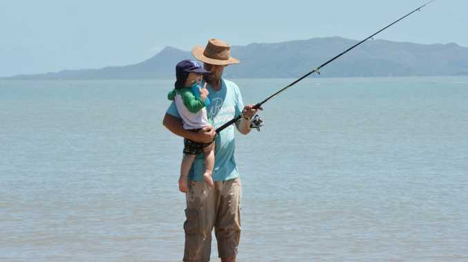 Dave Godfrey and son Nathaniel at the Take a kid fishing day Photo Tony Martin / Daily Mercury