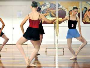 BIG CHANCE: Tahlia Downey (in red) and Sarah Ross during The Young Dancers Association audition.