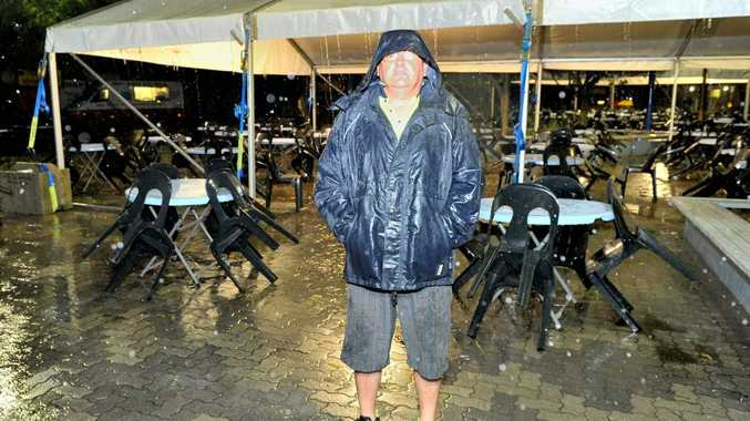 Ride operator Mark Forman had a quiet night after rain forced the cancellation of Gladstone Harbour Festival events on Sunday.