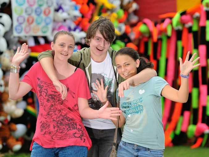 Jasmine Zeller, 15, Mitchell McGann, 18, and Mia Zeller, 17, were excited to go to their favourite Gladstone event.