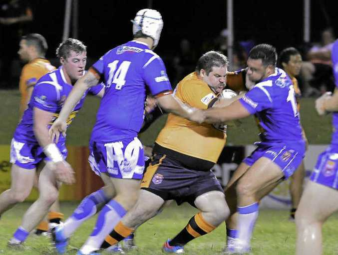 Mick Hamilton trucks one up into the Valleys defensive line, albeit in vain after a narrow Wallabys loss on Saturday night.