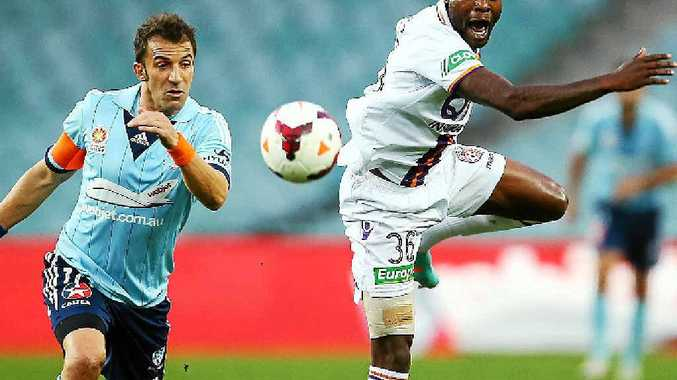 Alessandro Del Piero of Sydney and William Gallas of Perth contest possession at Allianz Stadium last night.