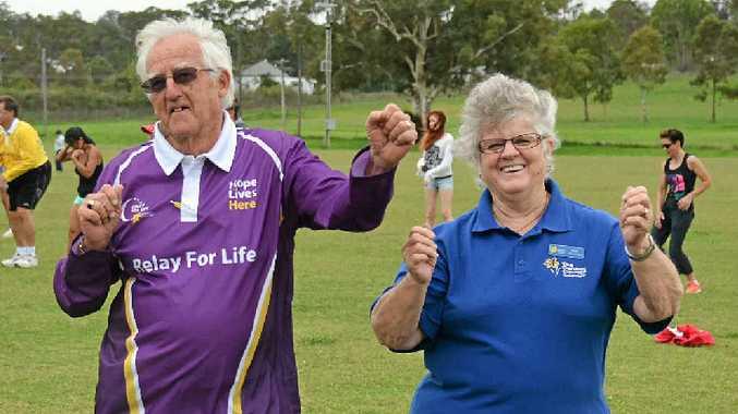 Ken Hartnett and Kay Wilson at Zumba for Life.