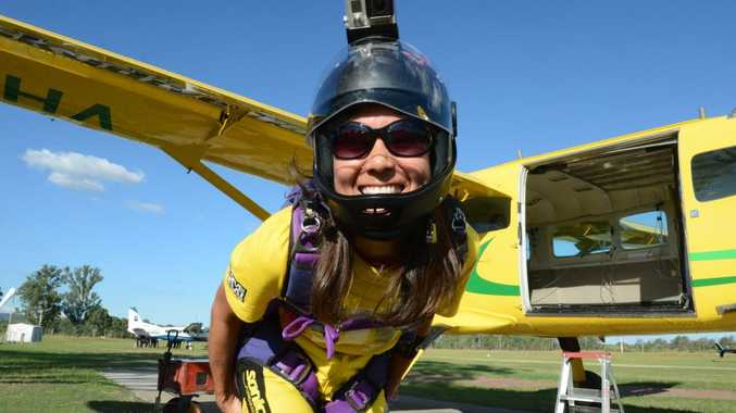 FLYING HIGH: Erica Tadokoro, 44, was the oldest of 49 participants in the attempt to break the national record for Australian vertical formation skydiving.