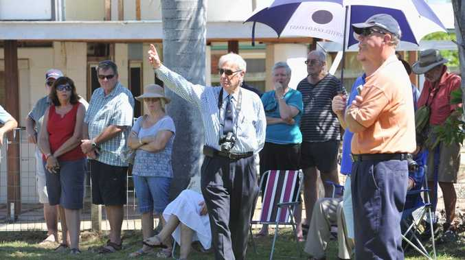 Bill Woods from Hervey Bay starts off bidding at 24 Mant St in Point Vernon with a bid of $300,000. The property was passed in at $360,000.