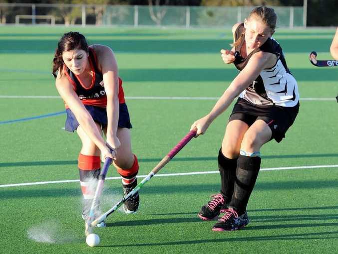 Maryborough Women's hockey - Tinana versus All Blacks - Tinana Maree Woods and All Blacks Kirra-Lea Randall.