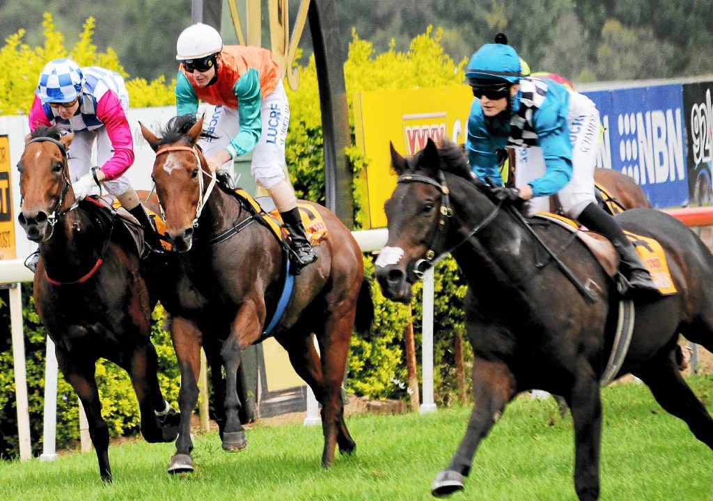 WINNING RIDE: Jockey Cassandra Schmidt guides Toshinaga to victory.