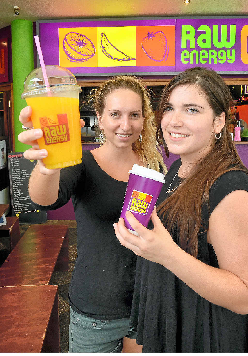 OPEN AND SHUT CASE: Brooke Lingard and Rachel Hoare, of Raw Energy, Mooloolaba, are happy to be working and able to receive penalty rates these holidays.