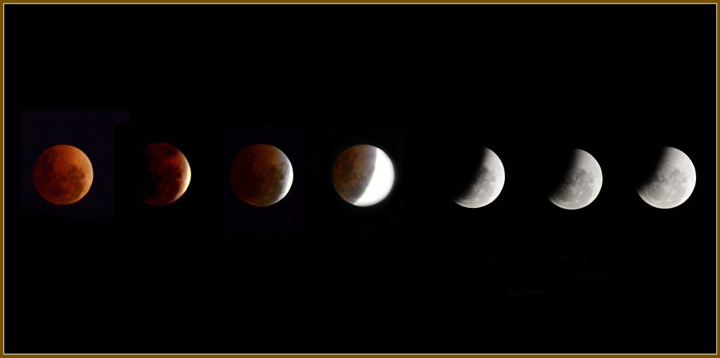 The phases of the lunar eclipse in the Hervey Bay sky.