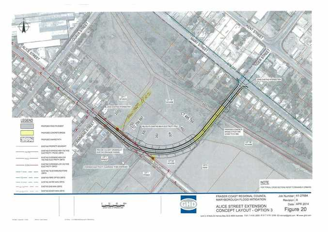 One of the council's Alice St extension concept layout plans.