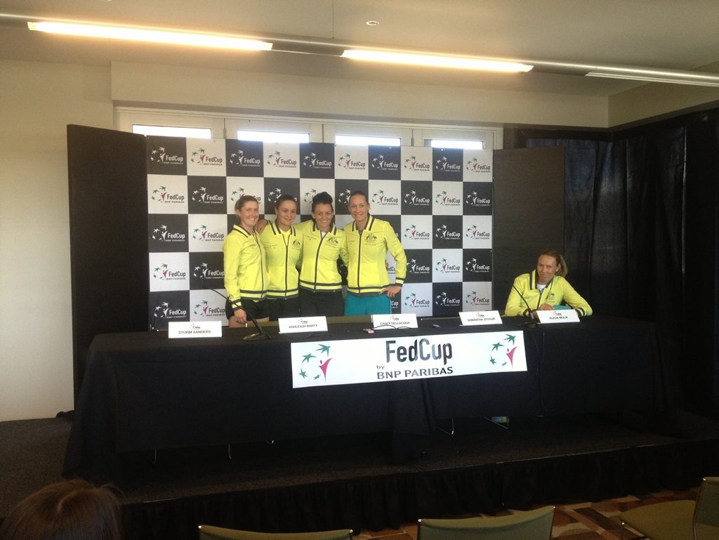 WHAT DROUGHT? The Australian Fed Cup team, including, from left, Storm Sanders, Ashleigh Barty, Casey Dellacqua, Samantha Stosur and team captain Alicia Molik, was full of smiles yesterday. There was no talk of wanting to break a 40-year title drought.