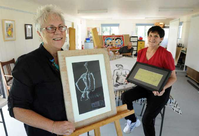 ART LOVERS: Bundaberg Art Society president Marilyn Batty and exhibition co-ordinator Marion Berry are excited about the Nudes Not Prudes exhibition to be held on May 2 at the Hazzard Gallery.