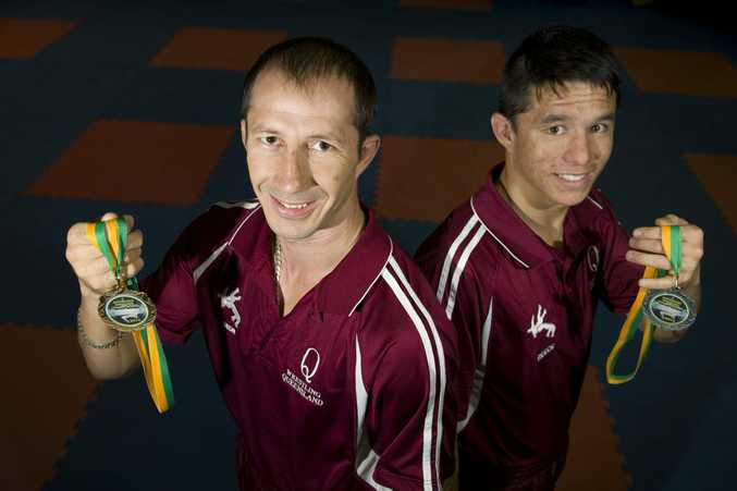 TOP TWO: Deon Swart (left) and Reece Mclaren won gold and silver medals at the Australian Wrestling Championships.