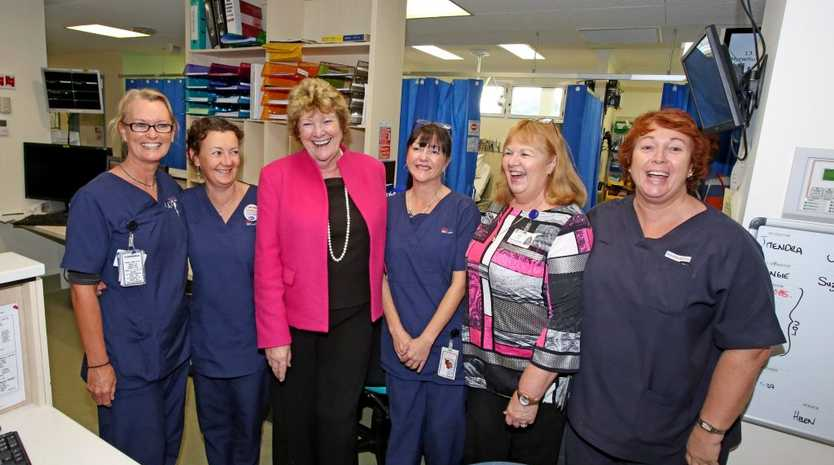 Tracey Blandon, Angie Gittus, Cherie Austin, Ann Schefe and Louise Channells with Minister for Health Jillian Skinner (middle) at Murwillumbah Hospital.