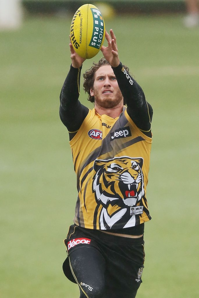 MELBOURNE, AUSTRALIA - APRIL 10: Tyrone Vickery marks the ball during a Richmond Tigers AFL training session at ME Bank Centre on April 10, 2014 in Melbourne, Australia. (Photo by Michael Dodge/Getty Images)