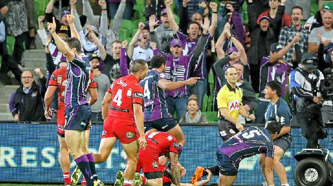 Young Tonumaipea scores the match-winning try for the Storm on Monday night.