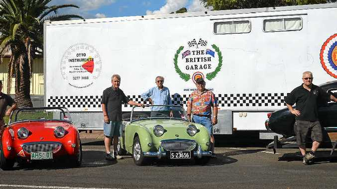 RACING INTO TOWN: Sprite car enthusiasts Joe Bufalino, Graham Harris, Neville Mansfield, Keith Gordon and John Robertson are among more than 100 drivers in the Rose City this weekend for the National Sprite Challenge of Australia.