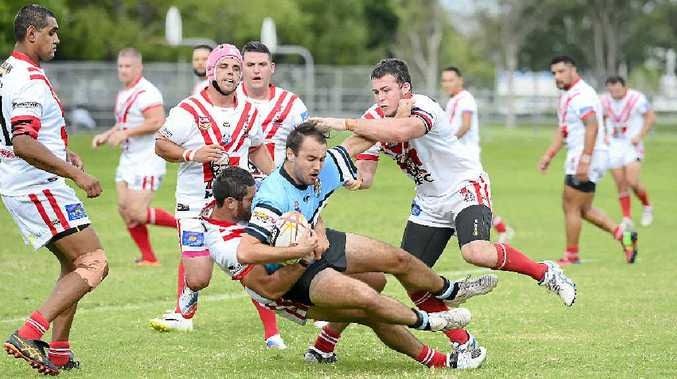 TAKE HIM DOWN: Rebel Jay Melrose brings down a player during the Group 2 rugby league match between the South Grafton Rebels and Woolgoolga Seahorses at McKittrick Park last Sunday. PHOTO: DEBRAH NOVAK