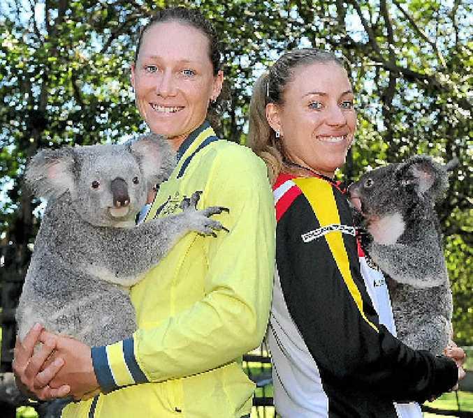 SET: Sam Stosur and Angelique Kerber at Lone Pine Koala Sanctuary yesterday.