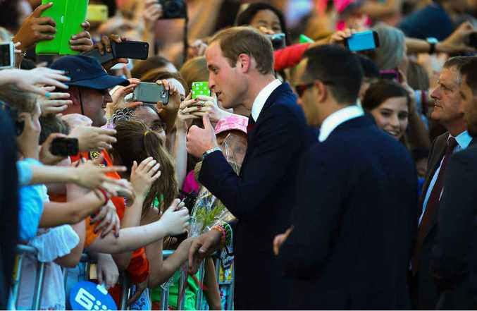Prince William engages with some very happy people during his visit to South Bank.