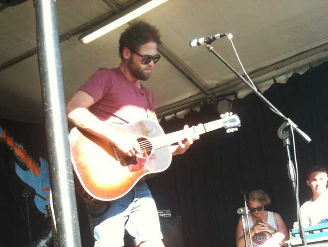Singer-songwriter Pasesnger busking at Bluesfest yesterday.