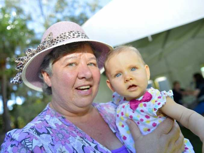 Rosemary Ward and Soriia Murray, 6 months, during Stockland Gladstone's Teddy Bear Picnic at the Gladstone Harbour Festival. Photo Luka Kauzlaric / The Observer