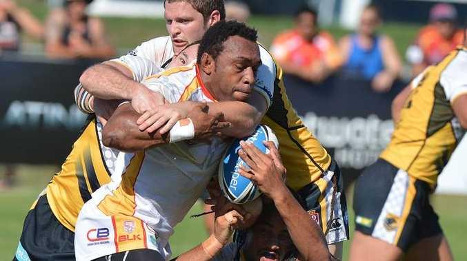 Sunshine Coast Falcons against PNG Hunters rugby league match. Hunters forward Sebstian Pandia Photo: Warren Lynam / Sunshine Coast Daily