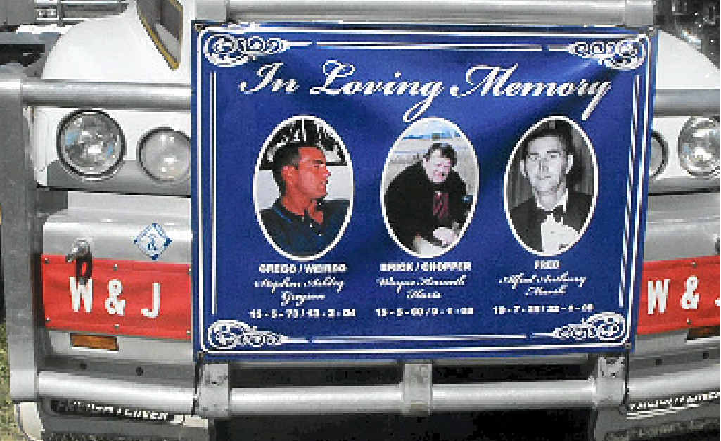 A truck entered into Lights on the Hill with friend Stephen Gregson, Vicki's late husband Wayne Havis and her dad Alfred Marsh.