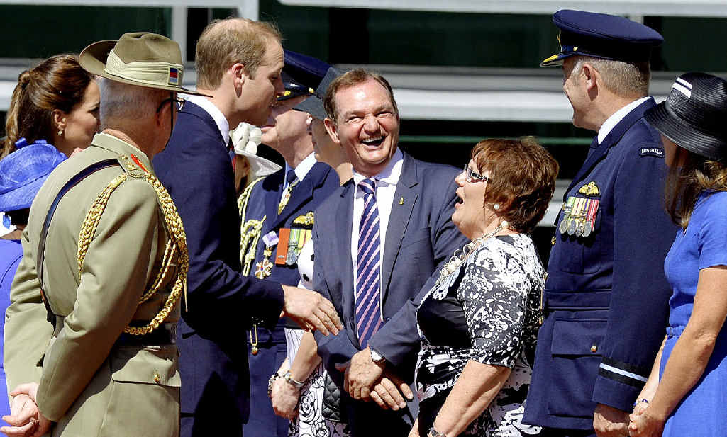 ROYAL MEETING: Prince William shares a joke with Ipswich Mayor Paul Pisasale and Mayoress Janet Pisasale.
