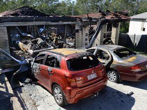 Aftermath of house fire at Bellbird Park