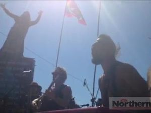 Members of John Butler Trio and Nahko and Medicine for the People perform at the Bentley Blockade