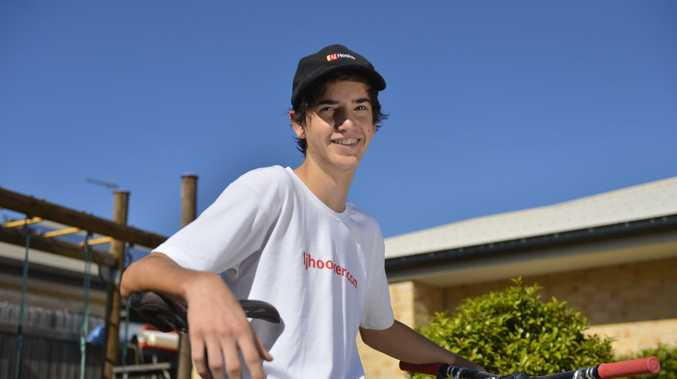 Kaiden Carter-Lanzon, 15, has taken the leap two divisions higher in this season's mountain bike races, and won both his starts.