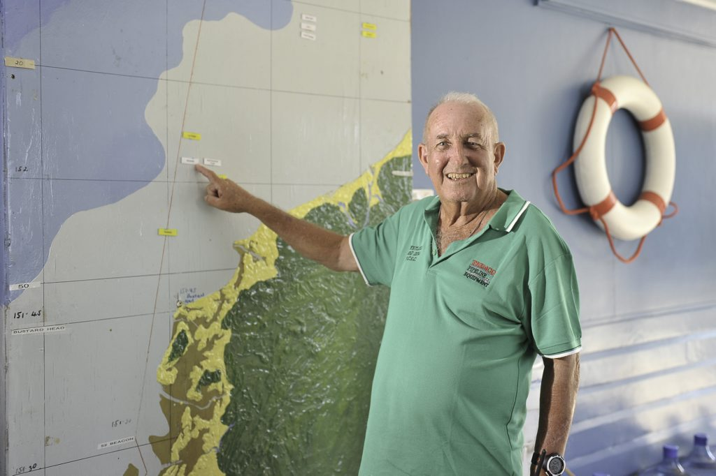 Barry Austin has spent many hours tracking Brisbane to Gladstone yachts, waiting to update the map of the race at the Gladstone Yacht Club.