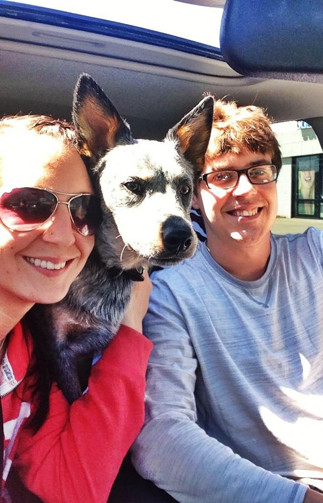 Chevy, the deaf Australian blue cattle dog pup, is settling in with new owners Renee Saraceni and Tommy Bayer in America.