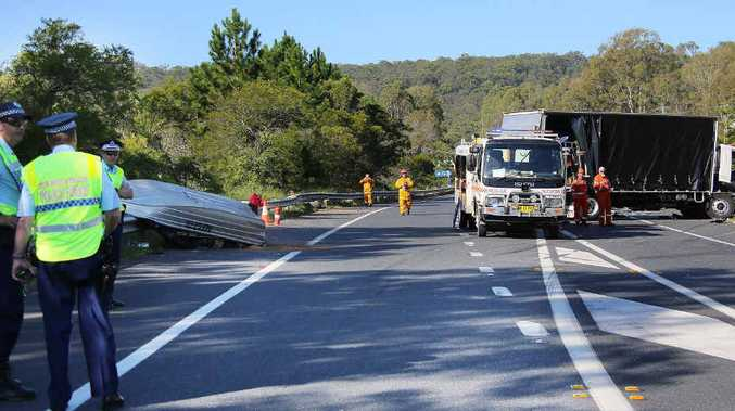 TRAGIC: The scene at the fatal crash on the Pacific Hwy at Tyndale on the weekend. Photo: Frank Redward