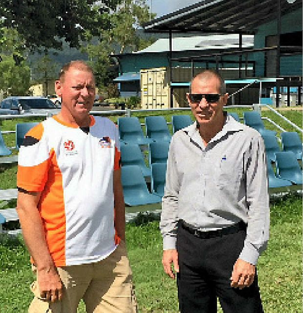 COMMUNITY EVENT: Ray White's Bernard Woods caught up with Whitsunday Sports Park president Steve Tween to discuss how funding from the 2014 Ray White Ball could be used to upgrade the facility in Jubilee Pocket.