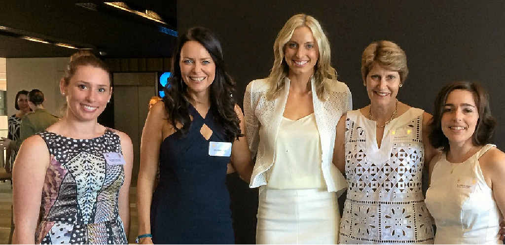 ROYAL CONNECTION: Helen O'Connell, Juliette Wright, Laura Geitz, Juanita Geitz and Rebecca Wright were guests at a function for the Duke and Duchess of Cambridge in Brisbane on Saturday.