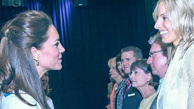 The Duchess of Cambridge has a conversation with Allora's Laura Geitz at Saturday's function.