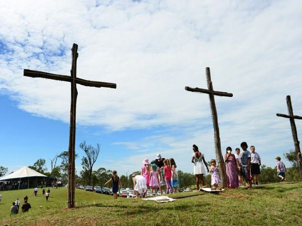 Good Friday service on the hill at Coleyville. Crosses on the Hill. Photo: David Nielsen / The Queensland Times