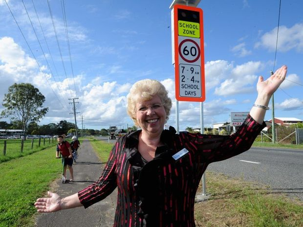 MP Anne Maddern is chuffed to have warning lights outside of St Helen's State School.