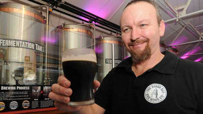 WARM UP: Scott Hargrave, head brewer at the Byron Bay Brewing Company with the Fire Face Schwartz Bier.