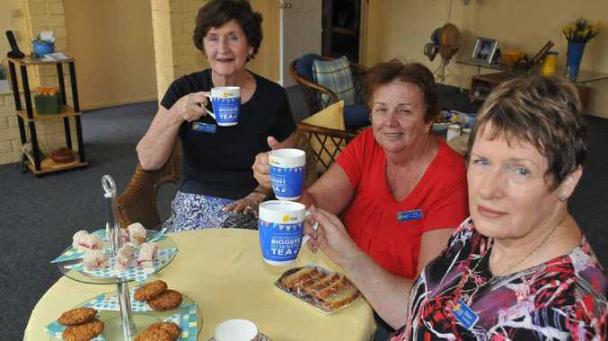 Maureen Edwards, Sue Gillard and Elaine McIntosh, from the Cancer Council Queensland Gladstone branch, are getting ready for Australia's Biggest Morning Tea.