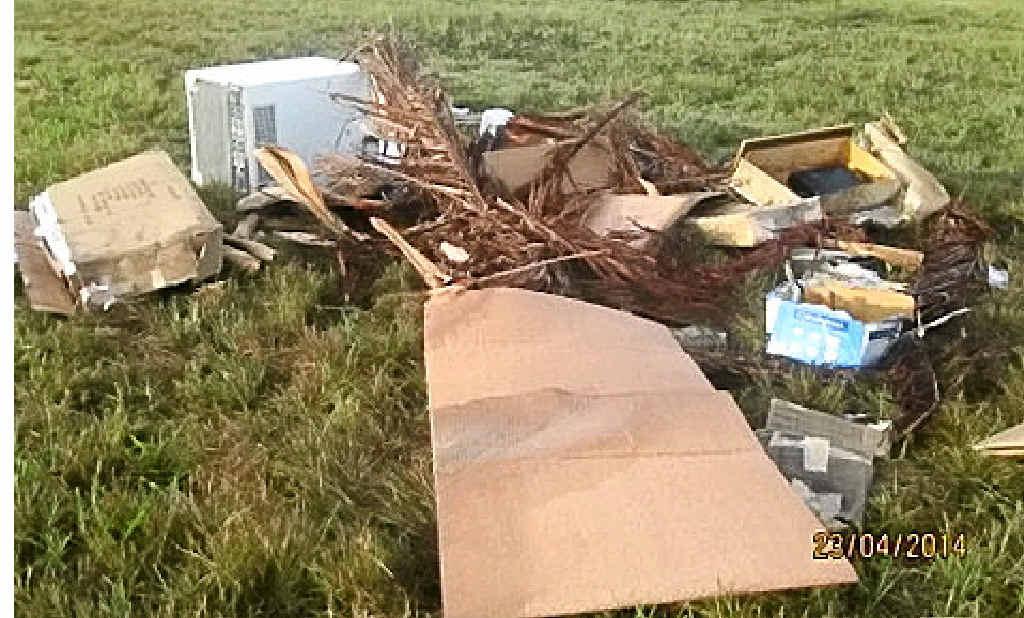 VITAL CLUES: The rubbish dumped at Kawana Island.